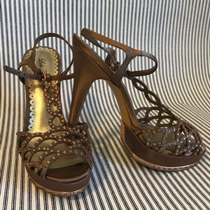 Champagne Crystal Embellished Sandals Size 8